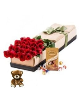24x Long Stemmed Red Roses, Bear & Chocolates