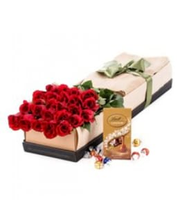 24x Long Stemmed Red Roses and Chocolates