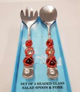 Beaded Salad and Fork Set